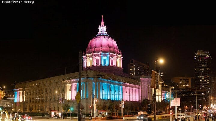 San Francisco city hall lights up for Transgender Awareness